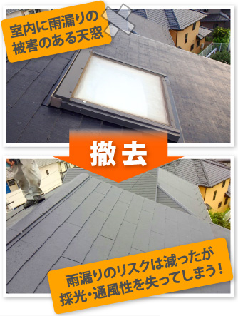 天窓を撤去すると雨漏りのリスクは減るが採光・通風性を失う