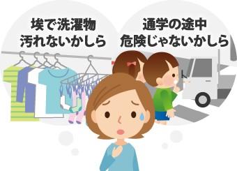 埃で洗濯物が汚れないか、通学の途中危険じゃないか心配する主婦