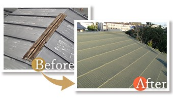既存の屋根を撤去し新しい屋根に交換