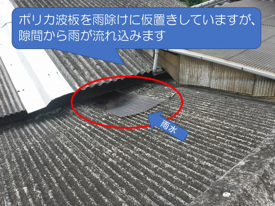 呉市波型スレート屋根ポリカ波板で雨除け