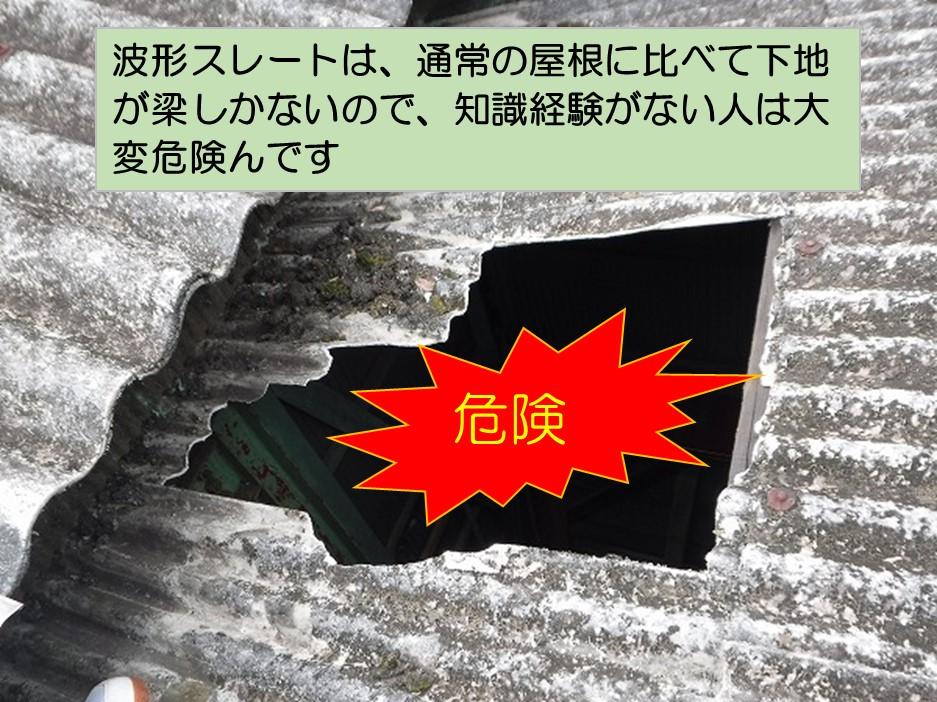 呉市波型スレート屋根下地無し危険