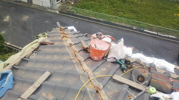 海田町屋根リフォーム棟瓦取り直し工事