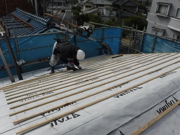 東広島市瓦屋根葺き替え工事桟木打ち