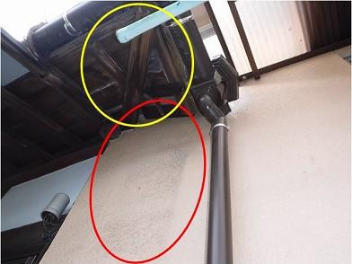 雨漏りによる外壁汚れ