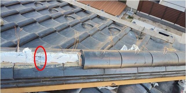 瓦棟の中の補強材