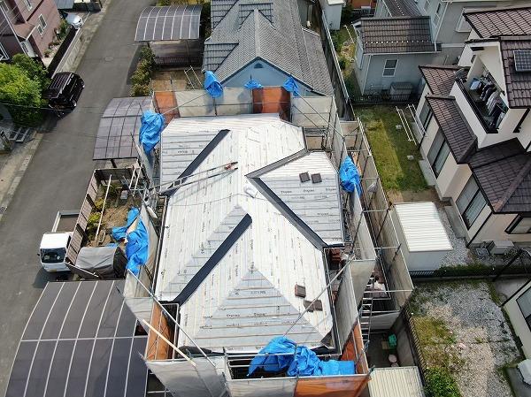 2階瓦下地工事