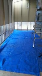 ポリカ波板貼り替え床養生