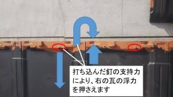 瓦の釘を留める箇所