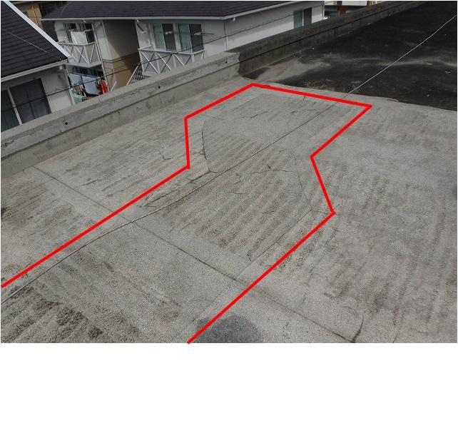 屋上防水サンダー跡