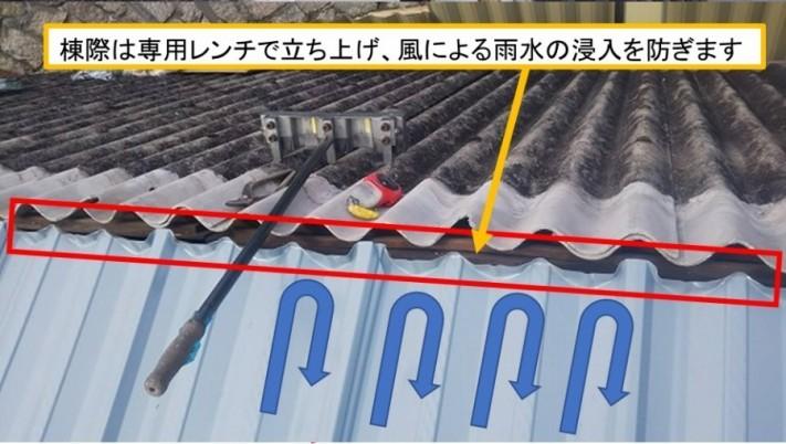 呉市大波スレートカバー工事棟際立ち上げ