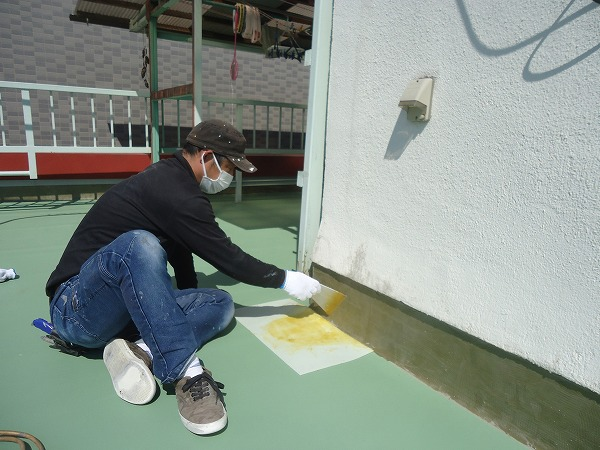 防水工事立ち上がり部接着工法