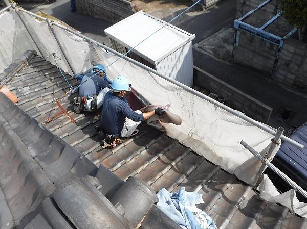 葺き替え工事ポリカ波板養生