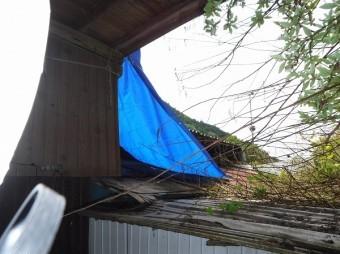 屋根飛散シート養生
