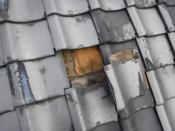 瓦屋根土葺き