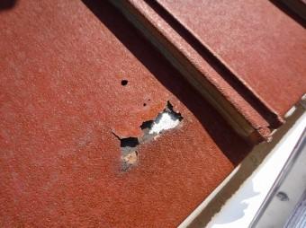 ベランダ屋根、瓦棒腐食