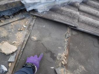 モニエル瓦葺き替え工事雨染み跡