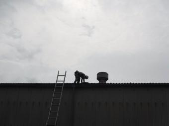 呉市工場倉庫大波スレート雨漏り修理工事