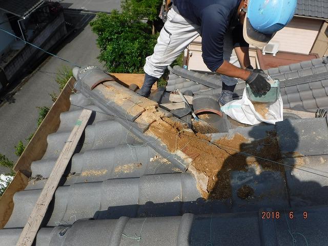 瓦屋根の既存隅棟解体