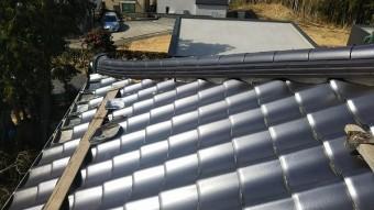 屋根足場作り