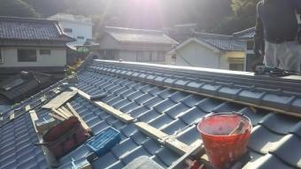 瓦屋根棟積み工事