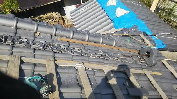 降り棟台土下瓦ガラ