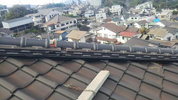 隅棟取り直し工事、屋根作業足場