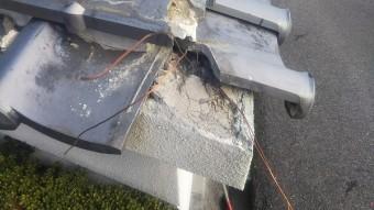 塀瓦角破損復旧工事