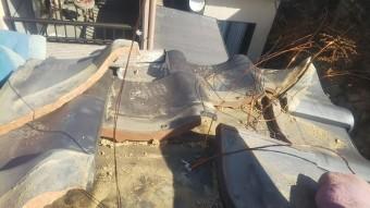 屋根下地に銅線取り付け