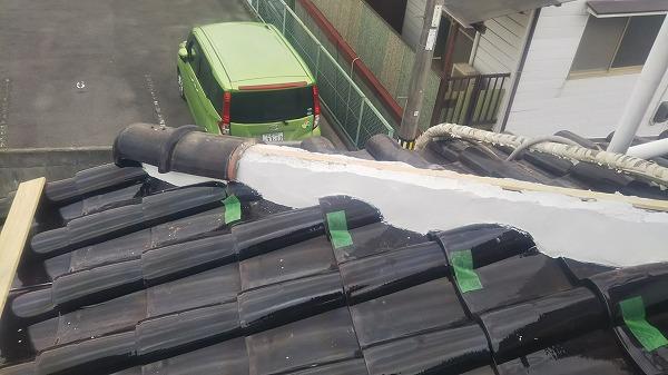東広島市屋根リフォーム工事しっくい塗り