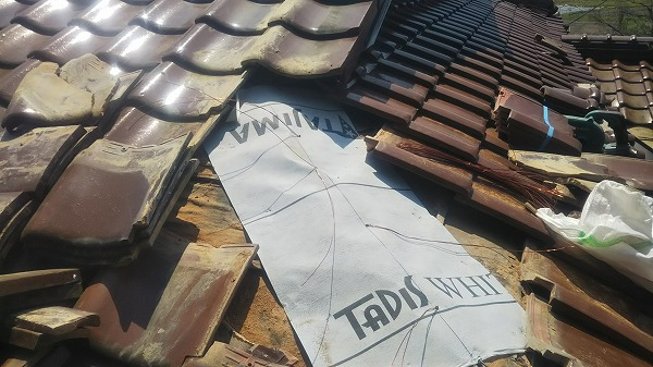 呉市雨漏り修理工事ルーフィング増し貼り