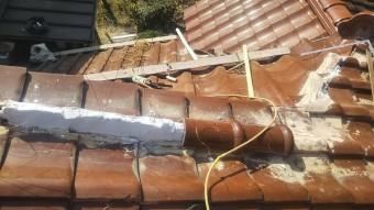呉市雨漏り修理丸瓦取り付け