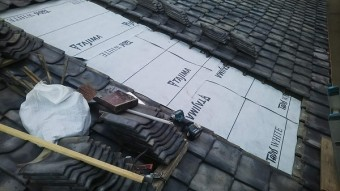 呉市アパート雨漏り葺き直し工事ルーフィング新設