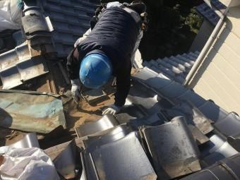 谷板際、棟解体工事