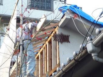 屋根折り返し下地作り