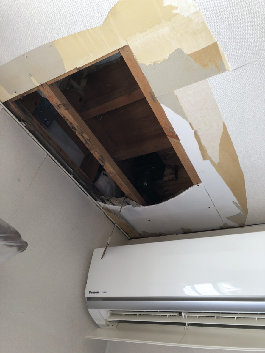 雨漏り天井解体