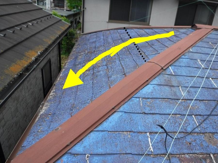 スレート屋根桁で折れている